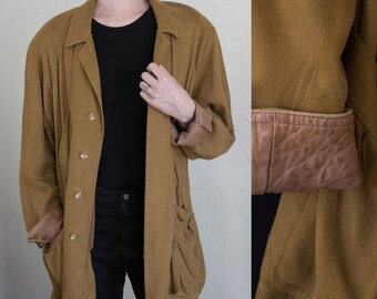 silk & leather jacket - L