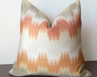 Orange, Grey Designer Throw Pillow Cover, Flame Stitch Pillow, Zig Zag, Chevron, Accent Pillows, PillowSplashStudio