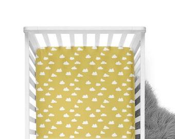 Fitted Crib Sheet Mustard Clouds- Mustard Crib Sheet- Cloud Crib Sheet- Crib Bedding- Baby Bedding- Organic Crib Sheet- Mustard Baby Bedding