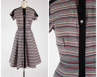 Vintage 1940s Dress • Simply Divine • Red Green Yellow Striped Cotton Late 40s Day Dress Size Medium