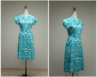 Vintage 1950s Dress • Graceful Day • Turquoise Printed Cotton 50s Day Dress Size Large