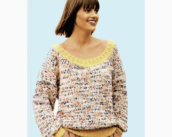 Instant Download PDF Knitting Pattern to make a Womens Loose Fitting Womens Scoop Neck Baggy Sloppy Joe Sweater 4 Sizes 32 to 40 inch bust