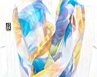 Feather Scarf, Boho Loop Scarf, Fashion Boho Scarf, ETSY, Spring Blue and Mustard Feathers, Handpainted Silk Scarf, Takuyo, 11x60 inches
