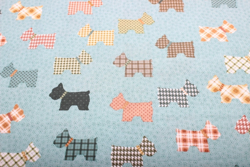 Scottie dog fabric dogs fabric childrens fabric animal for Childrens animal fabric