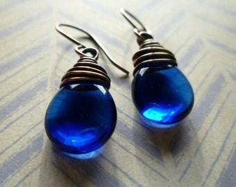 Cobalt Blue Czech Glass Teardrop Earrings - Czech Glass & Copper Wire Wrapped Earrings