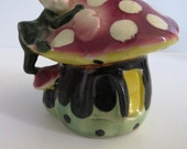 Elf Pixie Mushroom Planter - Fairy House Gnome Plant Holder Vase Mushroom Toadstool Planter Elf on Mushroom - Collectible - Home Decor Gift