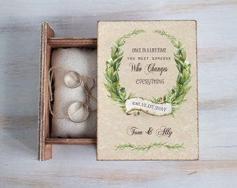Spring Wedding box, Wedding ring box, Ring bearer box, Personalized ring box Woodland wedding Nature wedding box Engagement box Ring holder