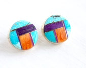 Navajo Turquoise Earrings Round Posts Spiny Oyster Charoite Tim Guerro Vintage Native American Inlaid Stone Jewelry