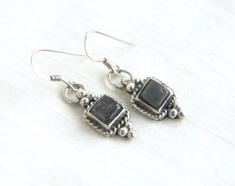 Hematite Dangle Earrings Southwestern Sterling Silver Square Dangles Signed Native American Jewelry