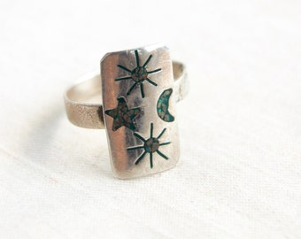 Astronomy Ring Adjustable Mexican Sterling Silver Vintage Turquoise Size 9 .5 Moon Stars Sun Folk Art Jewelry