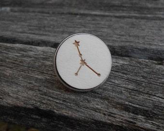 Constellation Pin. CHOOSE YOUR CONSTELLATION. Laser Engraved Wood. Custom. Tie Tack. Lapel Pin. Groomsmen, Groom, Anniversary. Cancer