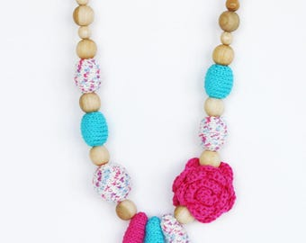 Nursing necklace with flower Hot pink blue chunky jewelry Spring Summer fashion Baby shower gift for mom Mother's Day New mom gift