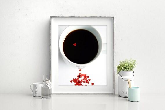 Coffee Print- Cup of Love Coffee Fine Art Print, Fine Art Photography, Kitchen Art, Coffee Art, Coffee Cup Photo, Heart Photo, Office Art