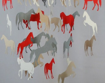 Horse Baby Mobile in Red, Gray, Cream and Tan