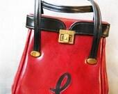 Vintage 1960's Handbag / L Initial / Red and Black