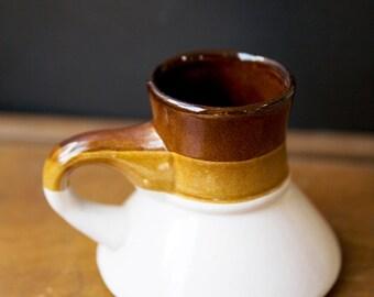 Vintage Ceramic Coffee Mug / Retro Mug / Vintage Mug / Brown and White