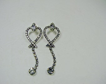 Vintage SPARKLY RHINESTONE EARRINGS Dangle Napier Pierced Jewelry Bride Gift