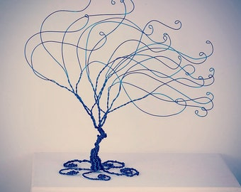 Waves Windswept Wire Tree Sculpture Wire Art Blue Tree Home Decor