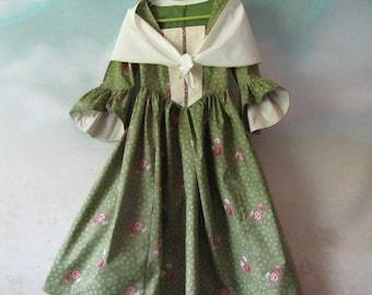 Girl's Renaissance Woodland Costume Dress & Fichu: Renaissance Festival, OctoberFest, 19th Century - All Cotton, Size 5, Ready To Ship