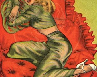 Miss Take - 10x16 Giclée Canvas Print of Vintage Pinup Postcard