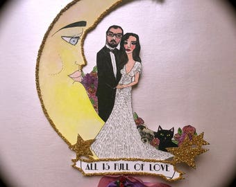 Wedding Cake Topper - Custom Illustrated - Art Deco - Hand Painted - Personalized