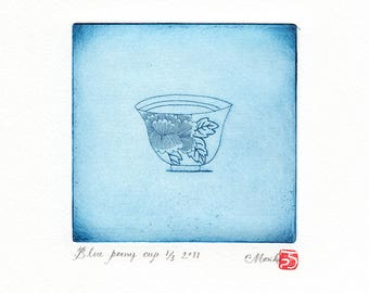 blue peony cup etching print