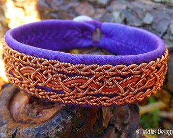 Swedish Viking Cuff NIDHOGG Purple Reindeer Leather Sami Bracelet with Copper Braids and Rosewood Leather Cord - Handmade Norse Elegance