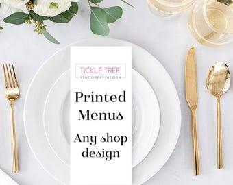 "Menu Cards, Reception Menus, Party Menus - Any Shop Design (4"" x 9"" or 5"" x 7"")"