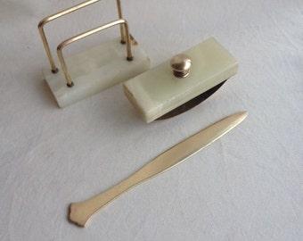 Mid Century Vintage 3 Piece  Marble & Brass Desk Set