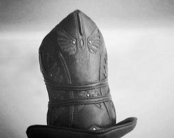 LIMITED ED. | Mad Steamer | Stovepipe Leather Top Hat | Black Alligator Print | Silver/Brass Hardware | Adjustable Size | Steampunk Circus