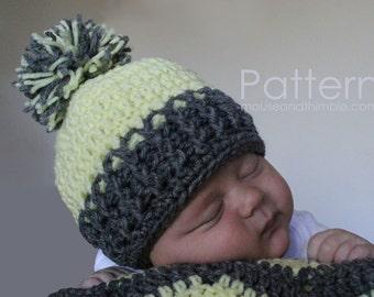 Beanie Hat Crochet PATTERN (3 sizes) & Pom-Pom Tutorial w/ Photos - Printable Download PDF 1900