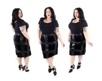 Plus Size Skirt / Vintage 1990's Leather Patchwork Pencil Skirt / Size XL / Vintage Skirt