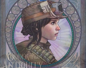 Jyn Erso Star Wars Rogue One Original Illustration Portrait Poster Print - 4 Sizes Available