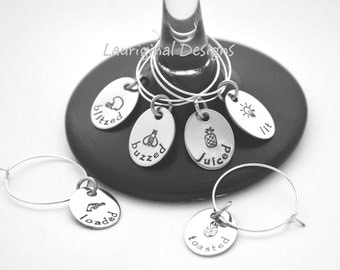 Personalized wine charms - Drink markers - stainless steel - hand stamped - See ALL photos