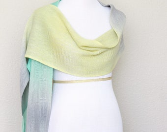 Woven stole, pashmina wrap, yellow mint green grey extra long scarf with fringe gift for her