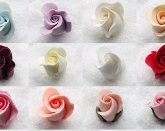 20 Gumpaste Roses Buds Flower Blossoms Sugar Fondant Cake Cupcake Topper Rosebud