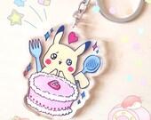 PREORDER Happy Pikachu Loves Strawberry Cake Acrylic Charm - Food Loving Pokemon Acrylic Keychain series