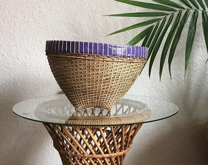 Wide Woven Split Rattan Basket Planter Pot with Purple Rim