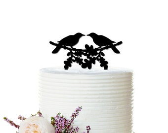 Wedding Cake Topper - Love bird cake topper - Ravens - Bridal Bachelorette Cake Topper, Birthday, Wedding Cake Topper - Peachwik - CT0001