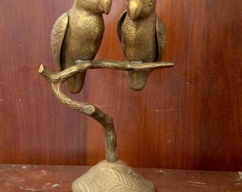 Brass Parrots Perched on Branch Statue Sculpture Love Birds