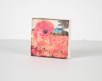 Poppy Art Block, Art Blocks, Boho Art, Wood Printing, Wood Block Art, Small Art, Wood Print, Poppies, Field of Poppies, Red Poppy