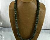 "African Trade Bead Necklace Vintage Green Krobo Eye 53 Beads, Green, Yellow, White, Black, 31"" Long, Raffia Grass"