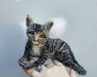 Angel cat sculpture, custom realistic cat replica, likeness to your pet, needle felted, faux taxidermy tabby, personalized cat MADE to ORDER