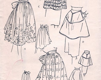 Great Unused Vintage 1950s Vogue 7102 Easy-To-Make Aprons in 4 Versions Sewing Pattern Size Small