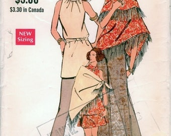 Boho Vintage 1970s Vogue 7791 Maxi Dress or Tunic Top, A Line Skirt, Flared Pants and Fringed Shawl Sewing Pattern B34