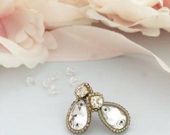 Crystal stud earrings,  gold crystal wedding earrings, Crystal bridal earrings