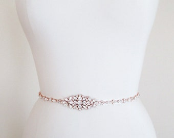 Rose gold ridal belt, Swarovski crystal skinny bridal belt sash, Wedding belt sash, Rhinestone bridal belt, Skinny bridal belt full length