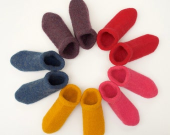 Boiled Wool Slippers - Clogs made from Felted Merino Wool - Many colours