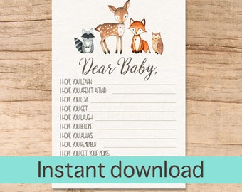 Wishes for Baby Card / Woodland Animal Wishes for Baby / Woodland Baby Wishes