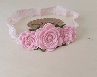 Felt Flower Headband - Baby Pink Rose Headband - Baby Flower Headband - Newborn - Toddler - Girls Rose Garland Headband - Lace Headband